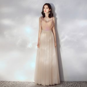 Chic / Beautiful Champagne Evening Dresses  2019 A-Line / Princess Ruffle Spaghetti Straps Sleeveless Backless Floor-Length / Long Formal Dresses