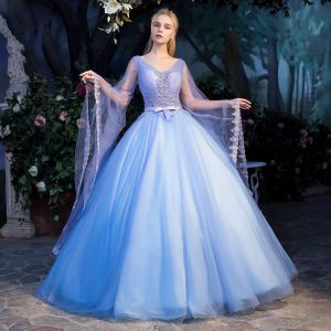 Elegant Pool Blue See-through Prom Dresses 2019 Ball Gown V-Neck Long Sleeve Appliques Lace Pearl Bow Sash Floor-Length / Long Ruffle Backless Formal Dresses