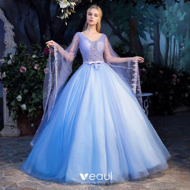 dbfa719b21c79 Elegant Pool Blue See-through Prom Dresses 2019 Ball Gown V-Neck ...