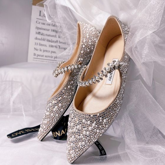 Encantador Plata Noche Perla Rhinestone Tacones 2021 Cuero 8 cm Stilettos / Tacones De Aguja Punta Estrecha Tacones High Heels