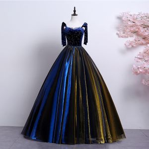 Elegant Royal Blue Gold Prom Dresses 2019 A-Line / Princess Spaghetti Straps Suede Lace Star Sleeveless Backless Floor-Length / Long Formal Dresses