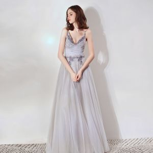 Elegant Grey Evening Dresses  2019 A-Line / Princess Deep V-Neck Sleeveless Beading Floor-Length / Long Ruffle Backless Formal Dresses