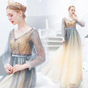 Charmant Dégradé De Couleur Robe De Soirée 2019 Princesse V-Cou Perlage Étoile Paillettes Manches Longues Dos Nu Longue Robe De Ceremonie