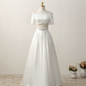 2 Piece Outdoor / Garden Wedding Dresses 2017 White A-Line / Princess Floor-Length / Long Square Neckline Short Sleeve Sequins Lace Appliques Rhinestone