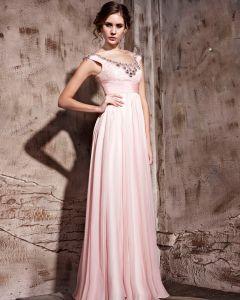 Tencel Floor Length Sleeveless Zipper Jewel Evening Dresses