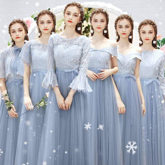 Piękne Błękitne Sukienki Dla Druhen Z Szalem 2019 Princessa Długie Wzburzyć Sukienki Na Wesele