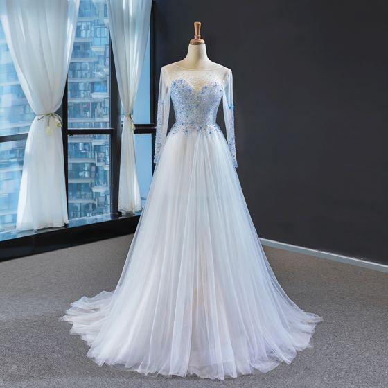 Wysokiej Klasy Białe Błękitne Przezroczyste Sukienki Wieczorowe 2020 Princessa Kwadratowy Dekolt Długie Rękawy Frezowanie Trenem Sweep Bez Pleców Sukienki Wizytowe