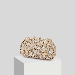 Sparkly Guld Glitter Rhinestone Clutch Taske 2019