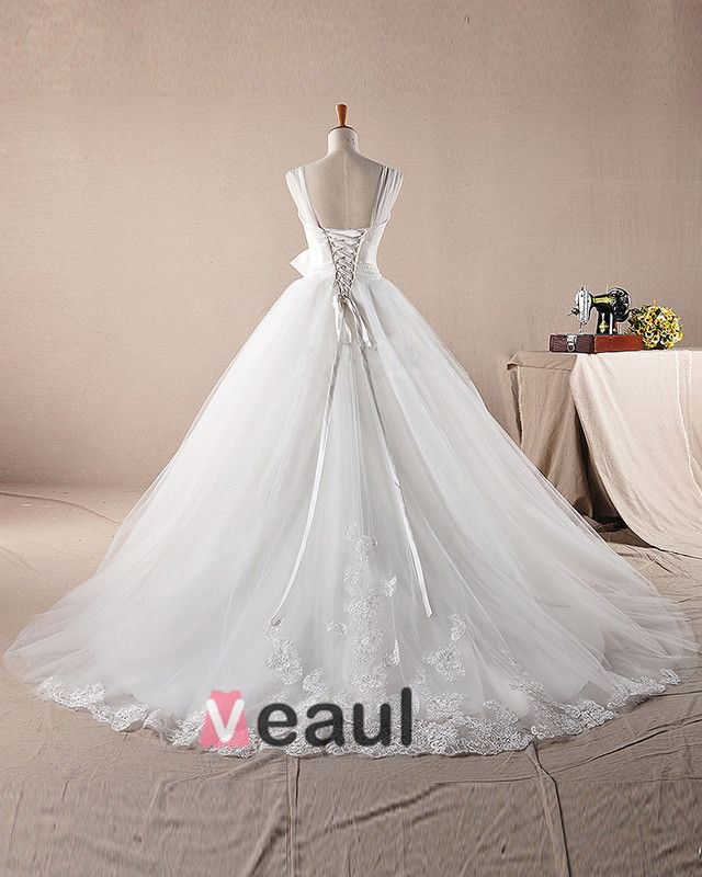 Graceful Ruffles Applique Beading Shoulder Straps Tulle A Line Wedding Dress
