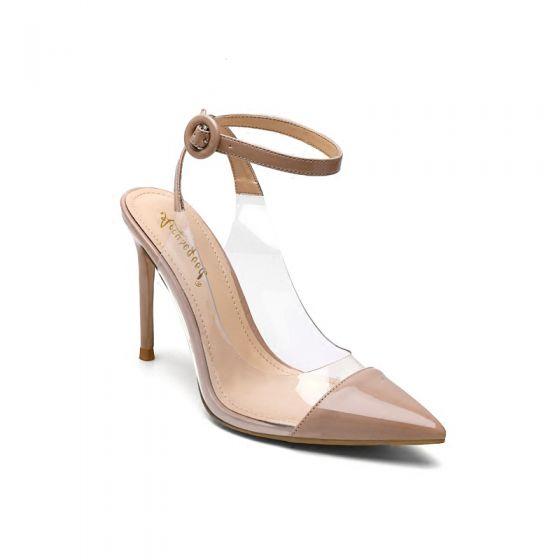 Transparent Sjarmerende Nude Fest Lær Sandaler Dame 2020 Patent Lær Ankelstropp 10 cm Stiletthæler Spisse Sandaler