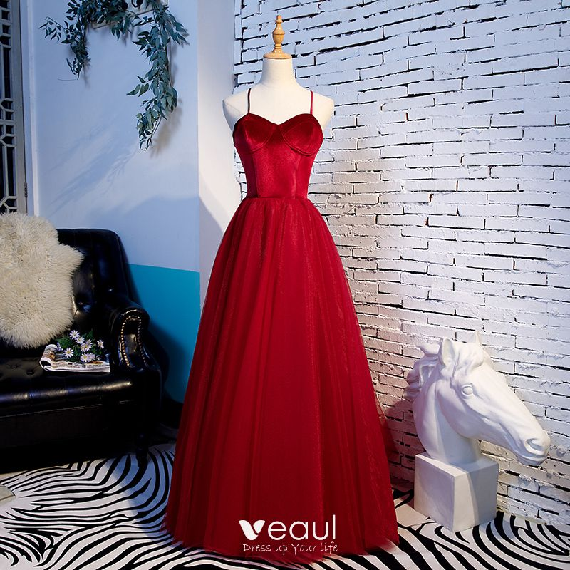 Modest / Simple Red Prom Dresses 2020 A