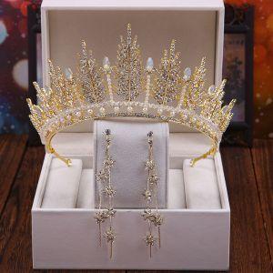 Mooie / Prachtige Goud Bruidssieraden 2020 Metaal Rhinestone Parel Tiara Bloem Kwast Oorbellen Huwelijk Accessoires