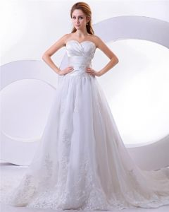 Satin Organza Elegant Floor Length Sweetheart Embroidery A-Line Wedding Dress