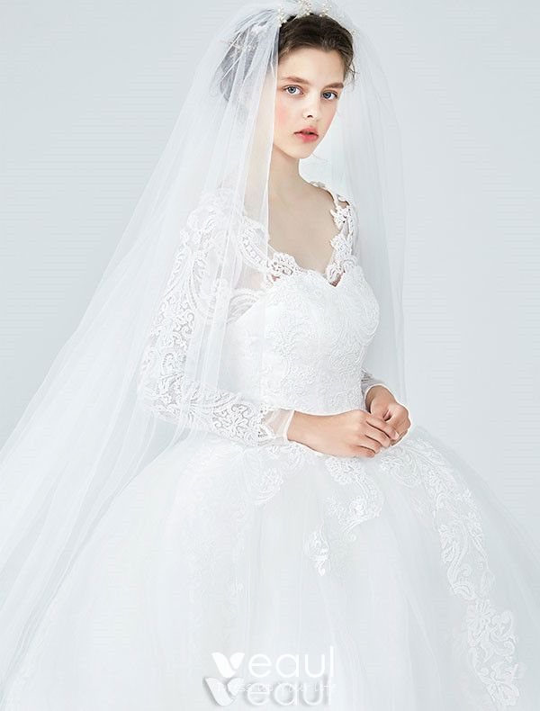 Elegant Wedding Dresses 2017 V-neck Applique Lace Ball Gown Bridal Gowns With Sleeves