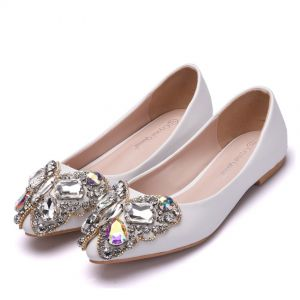 Chic / Beautiful White Casual Womens Shoes 2018 Crystal Rhinestone Round Toe Flat