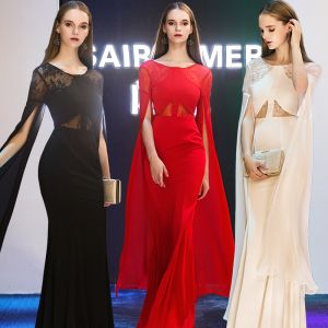 Modern / Fashion Evening Dresses  2019 Trumpet / Mermaid Scoop Neck Long Sleeve Floor-Length / Long Ruffle Backless Formal Dresses