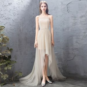 High Low Champagne Cocktail Dresses 2018 A-Line / Princess Handmade  Beading Sequins Backless Spaghetti Straps Sleeveless Sweep Train Formal Dresses