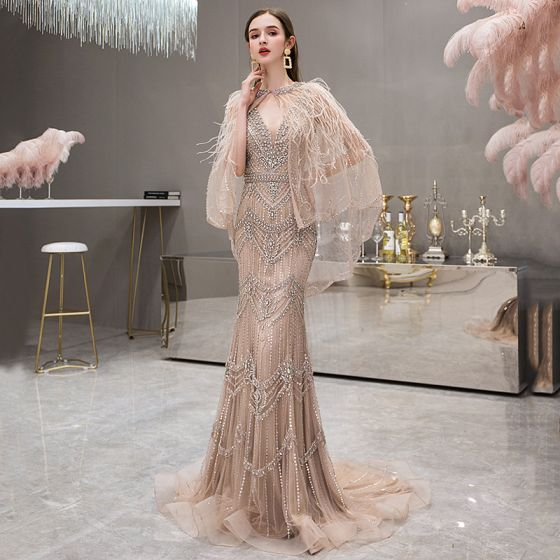 High-end Gold Evening Dresses  With Shawl 2019 Trumpet / Mermaid Deep V-Neck Sleeveless Handmade  Beading Rhinestone Feather Sweep Train Backless Formal Dresses