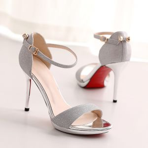 Sexy Evening Party Pumps 2017 PU Buckle High Heels Open / Peep Toe Pumps