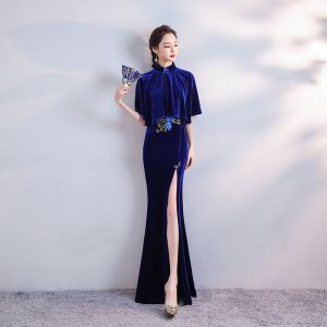 Chinese style Royal Blue Velour Cheongsam / Qipao With Shawl 2020 Trumpet / Mermaid High Neck Short Sleeve Appliques Embroidered Beading Split Front Floor-Length / Long Formal Dresses
