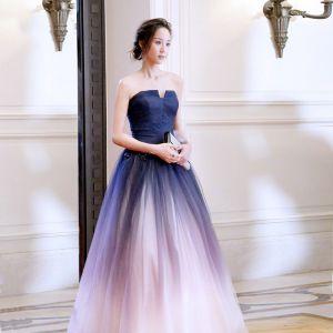 Schöne Farbverlauf Abendkleider 2018 A Linie Mit Spitze Blumen Bandeau Rückenfreies Ärmellos Lange Festliche Kleider