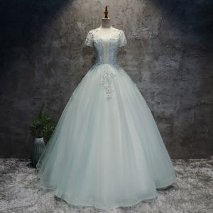 Chic / Beautiful Sky Blue Prom Dresses 2019 Ball Gown Lace Pearl Sequins Scoop Neck Backless Short Sleeve Floor-Length / Long Formal Dresses