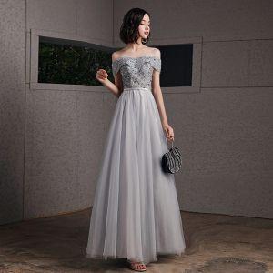 Chic / Beautiful Grey Evening Dresses  2020 A-Line / Princess Off-The-Shoulder Short Sleeve Sequins Beading Sash Floor-Length / Long Ruffle Backless Formal Dresses