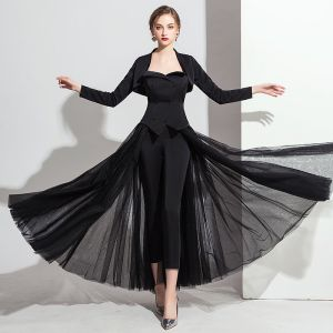 Classic Black Jumpsuit With Shawl 2019 A-Line / Princess Sweetheart Sleeveless Ankle Length Backless Evening Dresses