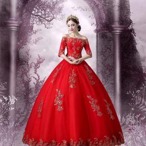 Najpiękniejsze / Ekskluzywne Sukienki Wizytowe 2017 Suknia Balowa Z Koronki Kwiat Bez Pleców Przy Ramieniu 1/2 Rękawy Długie Sukienki Na Bal
