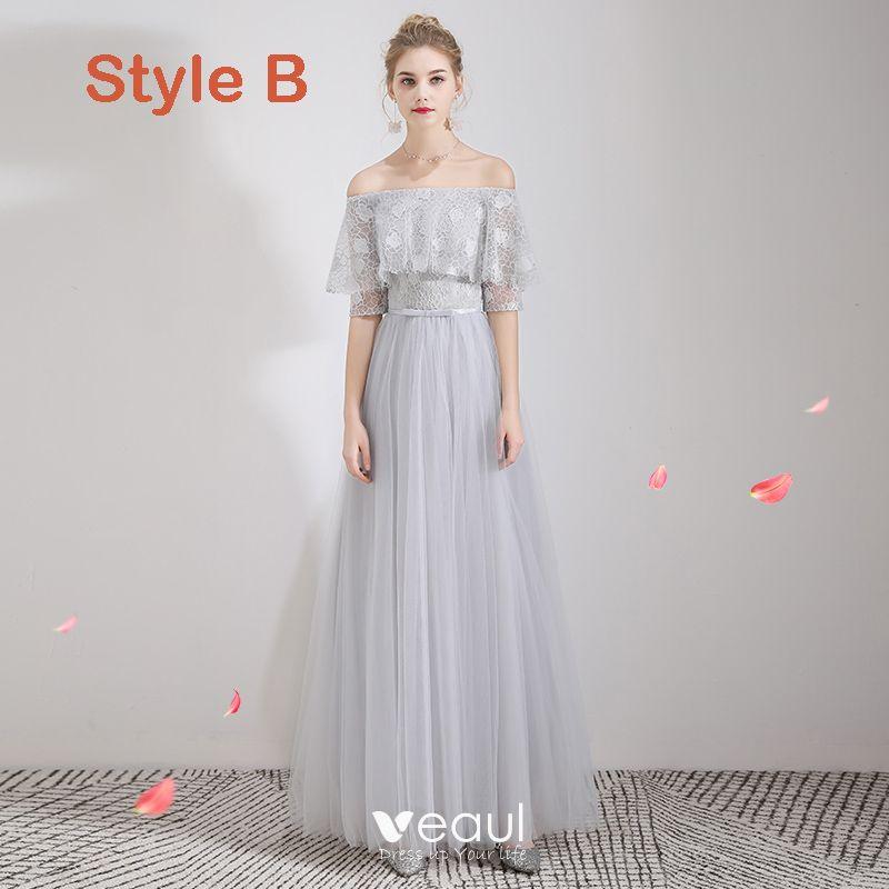 Niedrogie Szary Koronkowe Sukienki Dla Druhen 2019 Princessa Kokarda Szarfa Długie Wzburzyć Bez Pleców Sukienki Na Wesele