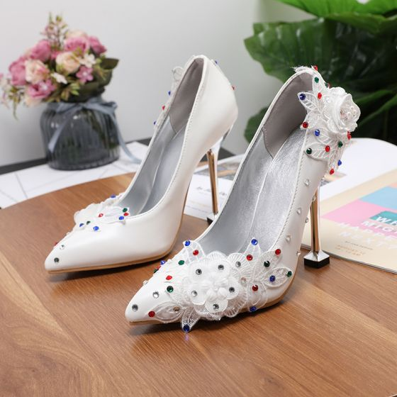 Elegant Ivory Multi-Colors Rhinestone Wedding Shoes 2020 Appliques Lace Flower 9 cm Stiletto Heels Pointed Toe Wedding Pumps