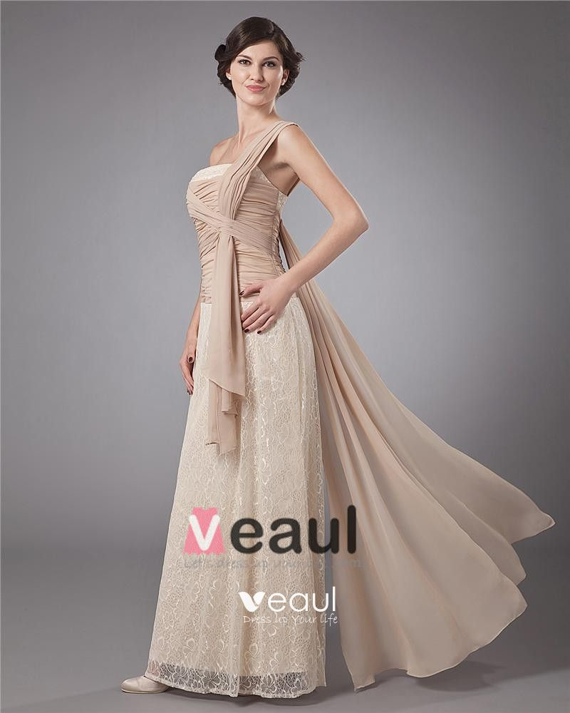 Lace Sash One Shoulder Floor Length Mothers of Bride Guests Dress