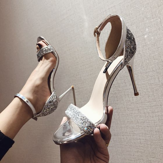 Sparkly Silver Evening Party Womens Sandals 2020 Sequins Ankle Strap 9 cm Stiletto Heels Open / Peep Toe Sandals
