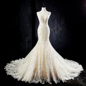 Best Champagne See-through Wedding Dresses 2019 Trumpet / Mermaid Scoop Neck Sleeveless Backless Pierced Appliques Lace Beading Pearl Court Train Ruffle