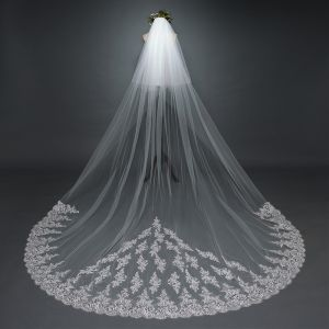 Chic / Beautiful White Wedding Lace Tulle Appliques Cathedral Train Wedding Veils 2017