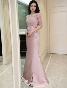 Beautiful Mermaid Evening Dress Scoop Neck Applique Lace Pink Satin Dress