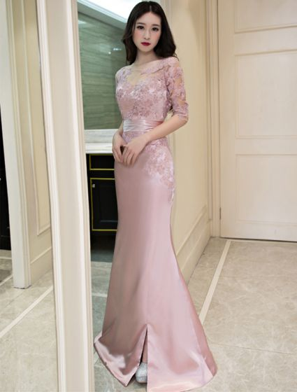 Beautiful Mermaid Evening Dress Scoop Neck Lique Lace Pink Satin