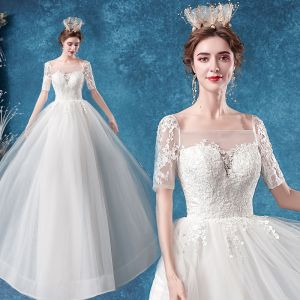 Elegant Ivory Wedding Dresses 2020 A-Line / Princess Square Neckline Rhinestone Lace Flower Short Sleeve Backless