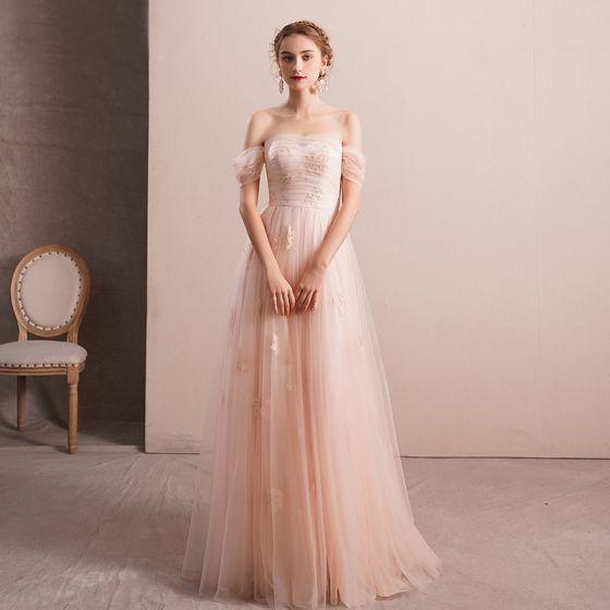 dc623cb0f1 Elegantes Perla Rosada Vestidos de noche 2019 A-Line   Princess Fuera Del  Hombro Manga Corta Apliques Con Encaje Rhinestone Largos ...