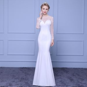 Schöne Weiß Durchsichtige Abendkleider 2018 Mermaid Rundhalsausschnitt Lange Ärmel Strass Lange Rüschen Festliche Kleider
