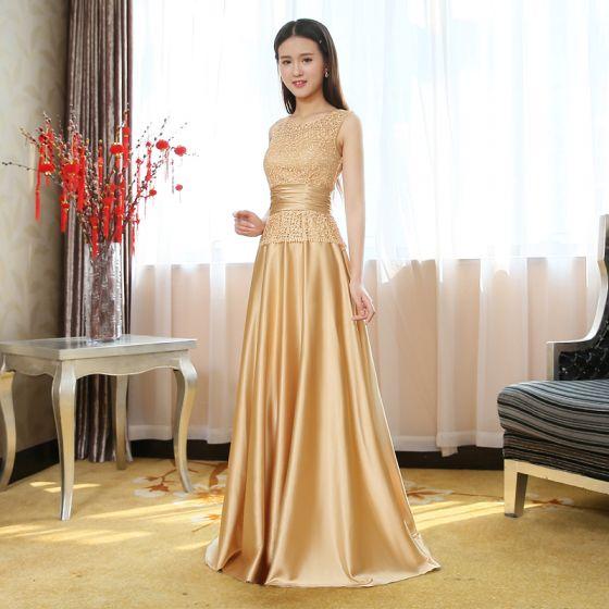 Chic / Beautiful Gold Evening Dresses  2017 A-Line / Princess U-Neck Lace Charmeuse Pierced Evening Party Party Dresses
