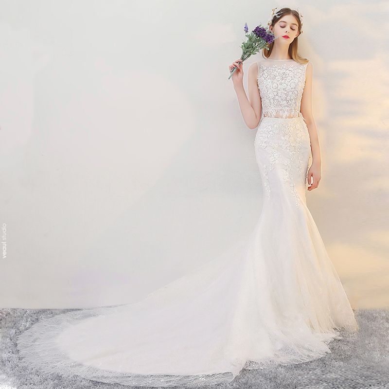 2 Piece Beach Wedding Dresses 2017 White Trumpet / Mermaid Cathedral Train Square Neckline Sleeveless Lace Appliques