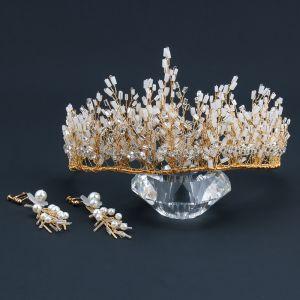 Charmant Gold Diadem Ohrringe Brautschmuck 2020 Legierung Perlenstickerei Perle Hochzeit Brautaccessoires