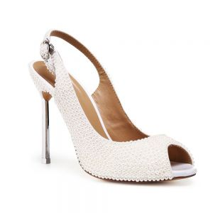 Sexy Ivory Pearl Evening Party Womens Sandals 2020 Leather 10 cm Stiletto Heels Open / Peep Toe Sandals