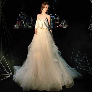 Edles Champagner Seide Strand Brautkleider / Hochzeitskleider 2019 Empire Spaghettiträger Ärmellos Rückenfreies Sweep / Pinsel Zug Rüschen