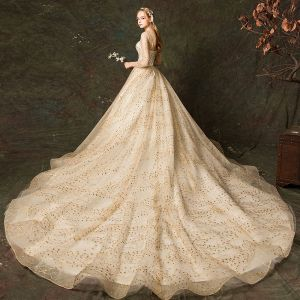 Scintillantes Champagne Robe De Mariée 2019 Princesse Encolure Carrée Glitter Brodé 3/4 Manches Dos Nu Royal Train