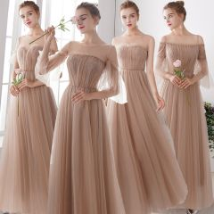 Elegant Champagne See-through Bridesmaid Dresses 2019 A-Line / Princess Floor-Length / Long Ruffle Backless Wedding Party Dresses