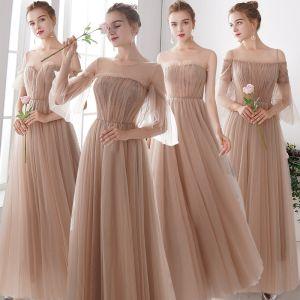Elegant Champagne See-through Bridesmaid Dresses 2019 A-Line / Princess Floor-Length / Long Ruffle Backless Wedding Party Dresses