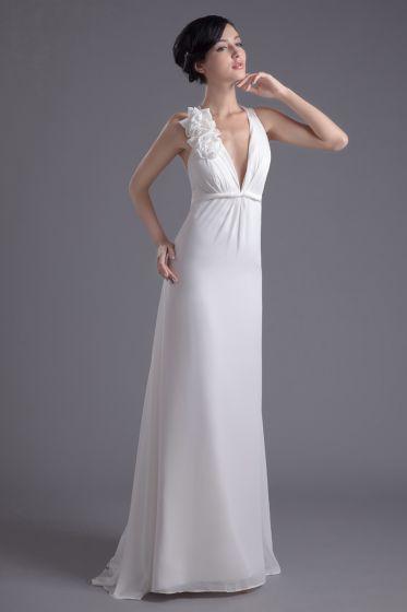 Fashion Chiffon Flower V Neck Floor Length Brush Train Empire Wedding Dress