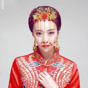 Kinesisk Stil Perle Hovedbeklædning / Øreringe Todelt